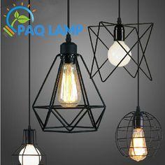 LOFT lamp  Vintage pendant  light LED light balck iron metal cage lampshade warehouse  style lighting light fixture-in Pendant Lights from Lights & Lighting on Aliexpress.com | Alibaba Group
