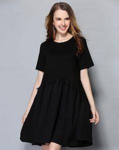 VIPme (VIPSHOP Global) - LETDIOSTO Pink Blend Summer A-Line Plain V-Neck 3/4 Length Folds Dresses - AdoreWe.com