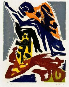 Asger Jorn (1914-1973) Hij reisde veel en onderhield de internationale contacten. Zijn werk was te zien op de grote Cobra-tentoonstellingen in Amsterdam (1949) en Luik (1951). Hij keerde verarmd en door tuberculose verzwakt terug naar Denemarken.