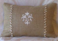 Black and Burlap Christmas Pillows   Burlap Hand Painted Fleur White and Gold Bead Lumbar Pillow Cover 18 ...
