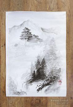 Japanische Burg Malerei Original japanischer Tinte von SamuraiArt
