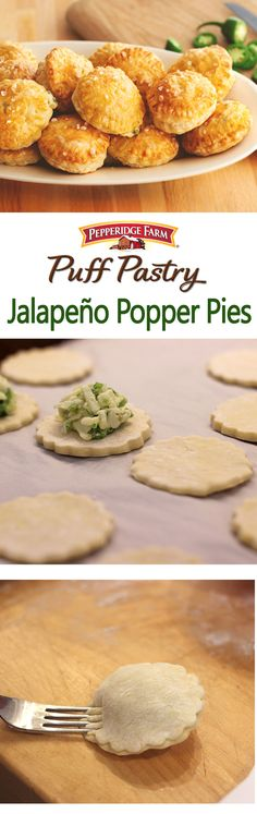 Puff Pastry Jalapeno Popper Pie Recipe. Plan a fiesta with Jalapeño Popper Pies! Everyone loves spicy, cheesy jalapeño poppers. Just wait until you try our version featuring Puff Pastry circles that enclose a filling of cream cheese, pepper Jack cheese and diced jalapeño. Pop them in the oven for just 15 minutes and you'll have a kickin' appetizer ready to serve. These crowd-pleasing appetizers are perfect served at a party, sports night, game night or any night!
