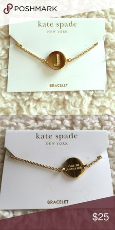"""NWT: Kate Spade initial """"J"""" gold bracelet NWT Kate Spade gold bracelet with the initial """"J"""" on the front and the phrase """"one in a million"""" on the back. kate spade Jewelry Bracelets"""