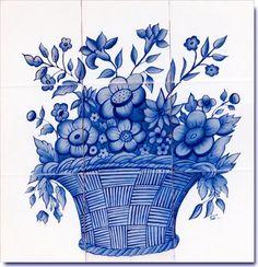 Cestino blu con fiori Tile Mural su piastrelle dipinte a mano