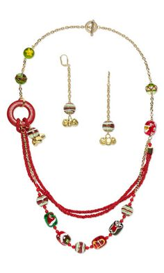 Triple-Strand Necklace and Earring Set with Glass and Epoxy Beads, Gold-Colored Steel Bells and Kumihimo Purely Silk™ Thread - Fire Mountain Gems and Beads