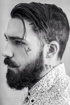 smaller nice-looking dark beard and styled mustache undercut beards bearded man men mens' style face tattoo tattoos tattooed undercut #keepitgrowing #beardsforever