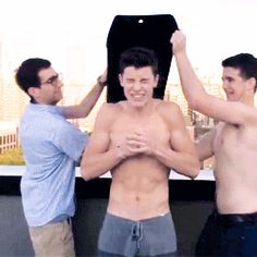 "I love how Andrew just laughs at Shawn like ""I'm glad I don't have to do this!"""