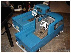 VW pickup pedal cars, one single cab, one crewcab.