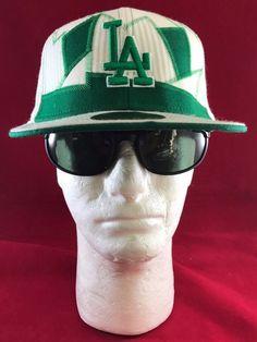 New Era 59Fifty MLB LA Dodgers Green and White Wth Green Stitching Flat Hat Bill #NewEra #LosAngelesDodgers