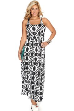 Get the look with style and comfort! Just add this maxi dress to your next outing, paired with sandals or pumps for a day to night look thats effortlessly. This style features a ethnic print, sleeveless design, racer back detail, scoop neckline, elastic waist, and finished with a slightly loose fit. 90% Polyester 10% Spandex.