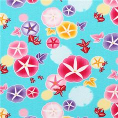 turquoise patterned  flower goldfish poplin fabric from Japan 1