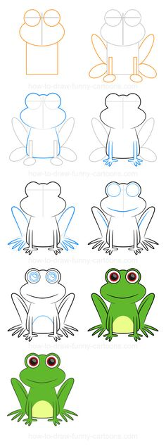 Cartoon Drawing Techniques How to draw a frog (Step-by-step) - Step-by-step drawing lessons featuring farm animals. Frog Drawing, Drawing For Kids, Art For Kids, Kids Drawing Lessons, Drawing Ideas, Drawing Drawing, Doodle Drawings, Animal Drawings, Easy Drawings
