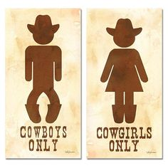 Two Cowboy and Cowgirl His Hers Bathroom Sign Posters Cowboy Bathroom Signs Rodeo Party, Cowboy Theme Party, Cowboy Birthday Party, Birthday Door, Birthday Parties, Wild West Theme, Wild West Party, Wild Wild West, Country Western Parties