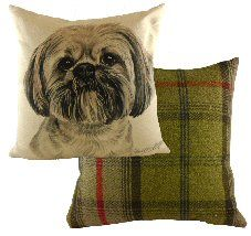 Lhasa Apso Waggy Dogz Cushion Cream Cushions, Dog Cushions, Printed Cushions, Lhasa Apso, Tartan, Watercolor Paintings, Tapestry, Throw Pillows