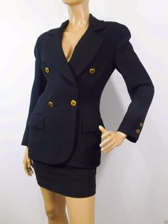 07ae6ecca4b6f Vintage Italian Blazer Women Sz 6 Harriet Selling for Henri Bendel Vintage  Double Breasted Jacket Heraldic Buttons Lined