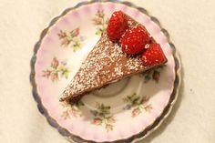 cointreau double chocolate cake with raspberries