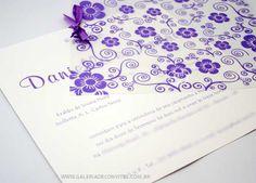 modelo 42: convite de casamento floral em tons de lilás e branco  - Galeria de Convites