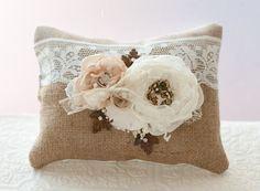 Ring Bearer Pillow rustic shabby chic romantic wedding by Cultivar