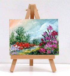 Flores de primavera. 3 x 4 pulgadas pintura al óleo miniatura