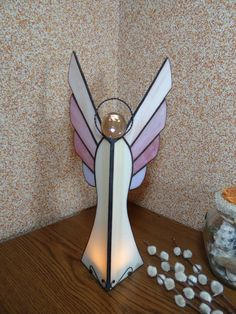 Angel stained glass tealight holder Votive candle holder Glass art Gift for her Handmade nightlight Figurine lantern