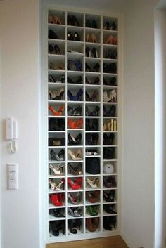 Bedroom closet doors Shoe storage ideas for small spaces bedrooms shelves 60 ideas Youth Sp Shoe Storage Bins, Shoe Storage Solutions, Closet Shoe Storage, Small Space Storage, Wardrobe Storage, Garage Storage, Diy Storage, Storage Spaces, Storage Shelves
