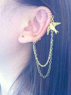 Omg. I LOVE it. flying bird gold and brass double ear cuff chain earrings no piercing required