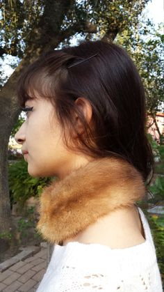 New handmade mink choker blonde beige small by LeatherAndFurFinds