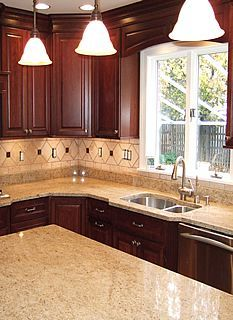 Kitchen Backsplash Ideas With Cherry Cabinets ivory granite with cherry cabinets | modern kitchen with cherry