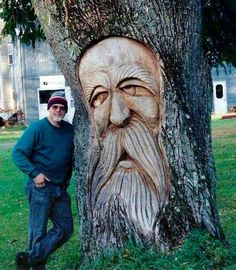 Tree Troll Photo: This is my first chainsawed wood spirit in a live tree. This Photo was uploaded by dewragdave Tree Carving, Wood Carving Art, Wood Carvings, Wood Sculpture, Sculptures, Chain Saw Art, Nature Verte, Tree People, Tree Faces