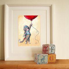 Nursery Art Cute Sock Monkey and Red Balloon by JennyDaleDesigns, $23.00