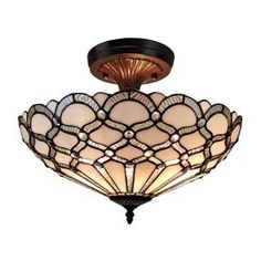 Shop for Tiffany Style Ceiling Fixture Lamp Jeweled Wide Stained Glass White Bedroom Hallway Gift Amora Lighting. Get free delivery On EVERYTHING* Overstock - Your Online Ceiling Lighting Store! Get in rewards with Club O! Metal Ceiling, Flush Ceiling Lights, Flush Mount Ceiling, Flush Mount Lighting, Ceiling Fixtures, Ceiling Lamp, Ceiling Lighting, White Ceiling, Glass Ceiling
