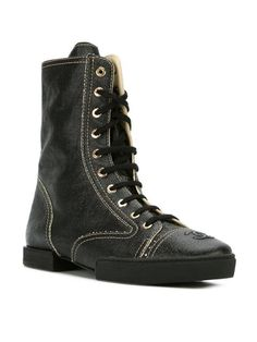 Chanel Vintage lace-up boots