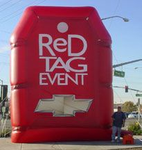 Large inflatable red tag chevy