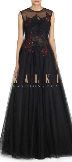 Buy this Black gown embellished in resham and zari only on Kalki‌