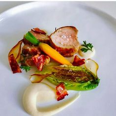Pork tenderloin white bean puree confit onion and bacon xx @myfrenchchef xx by amoveablefeastcateringperth