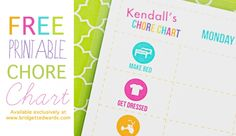 free printable chore chart by bridgett edwards of perideau designs Free Printable Chore Charts, Chore Chart Kids, Free Printables, Teaching Kids, Kids Learning, Behaviour Chart, Behavior, Charts For Kids, Up Girl