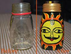 Painted medicine bottle to art. #Upcycled #art #madhubani