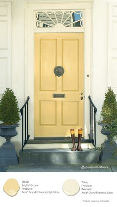 Yellow suggests creativity, fun, and happiness. Offer your guests a glance into the personality of your home - Recreate the look of this yellow door with a light, tangy yellow such as English Scone.