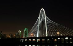 Santiago Calatrava's Margaret Hunt Hill Bridge that connects east and west Dallas seamlessly over the Trinity River.
