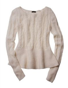 cozy white peplum cable-knit sweater- Fall '13 collection