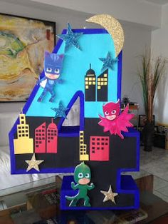 Pj Masks Pinata, Festa Pj Masks, Pjmask Party, Party Time, 4th Birthday Parties, 3rd Birthday, Decoracion Pj Mask, Pj Mask Party Decorations, Minion Birthday