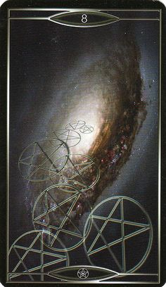 Quantum Tarot - Eight of Pentacles. I believe in this equation for success- innate talent + Luck & work your ass off. No secrets. Tarot Cards Major Arcana, Le Tarot, Tarot Readers, Palmistry, Eight, Pentacle, Oracle Cards, Tarot Decks, Archetypes