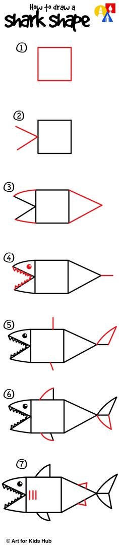 Draw Sharks Easy steps on how to draw a shark, just for kids! - This lesson on how to draw a shark with shapes is meant for super young artists. We're going to work on drawing a square and triangles! Art For Kids Hub, Sharks For Kids, Kindergarten Art Lessons, Cute Kids Crafts, Drawing Activities, Preschool Art, Step By Step Drawing, Drawing For Kids, Learn To Draw