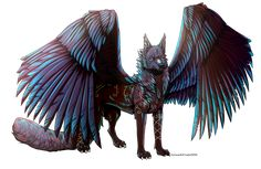 [Com] Aria by Zu-Nasr on DeviantArt Mythical Creatures Art, Fantasy Creatures, Furry Wolf, Furry Art, Fantasy Wolf, Fantasy Art, Anime Wolf Drawing, Galaxy Wolf, Wings Drawing