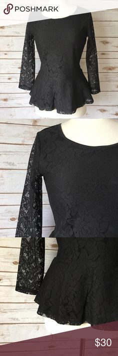 "LOFT Black Lace Peplum Top Classic black lace peplum top by LOFT. ▪️19.5"" pit to pit ▪️24"" long ▪️15"" shoulder to shoulder ▪️In great condition   🚭 Smoke-free home 📬 Ships by next day 💲 Price negotiable  🔁 Open to trades  💟Happy Poshing!💟 LOFT Tops"