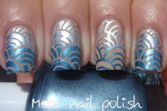 More Nail Polish: Blue gradient stamp