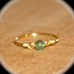 Green Delicate Ring, Tiny aventurine stone Gold Filled/Sterling Silver Ring Handmade, Knuckle Ring, Gold Stacking Ring, Minimalist Ring by BirchBarkDesign on Etsy Silver Nose Ring, Gold And Silver Rings, Silver Rings Handmade, Sterling Silver Rings, Wire Rings, Beaded Rings, Stacked Wedding Rings, Wire Jewelry Designs, Diamond Stacking Rings