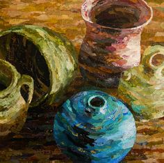 Torn paper collage paintings Althea Sassman Pots & Vessels