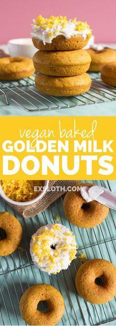 Easy Vegan Baked Golden Milk Donuts (Turmeric Tea Donuts) via /ExSloth… Turmeric Recipes, Coconut Recipes, Baking Recipes, Whole Food Recipes, Dessert Recipes, Vegan Recipes, Cookbook Recipes, Best Vegan Desserts, Vegan Breakfast Recipes