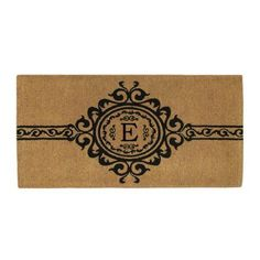 Garbo Monogram Doormat, Extra-thick (Letter E), Brown